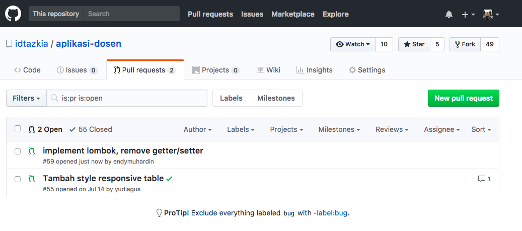 Daftar Pull Request