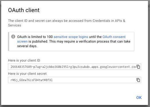 Client ID dan Secret