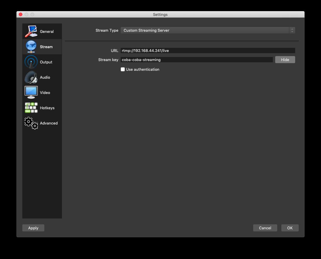 Konfigurasi Stream OBS