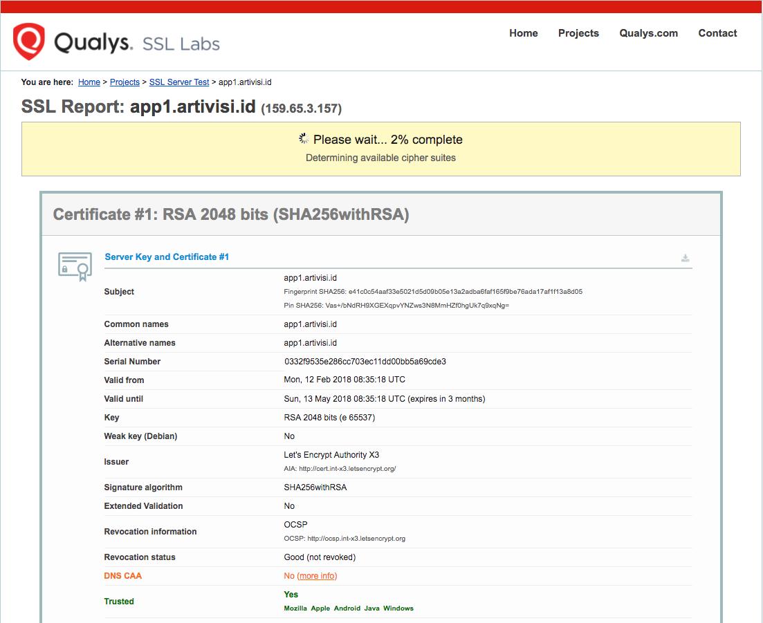 SSL Labs in progress