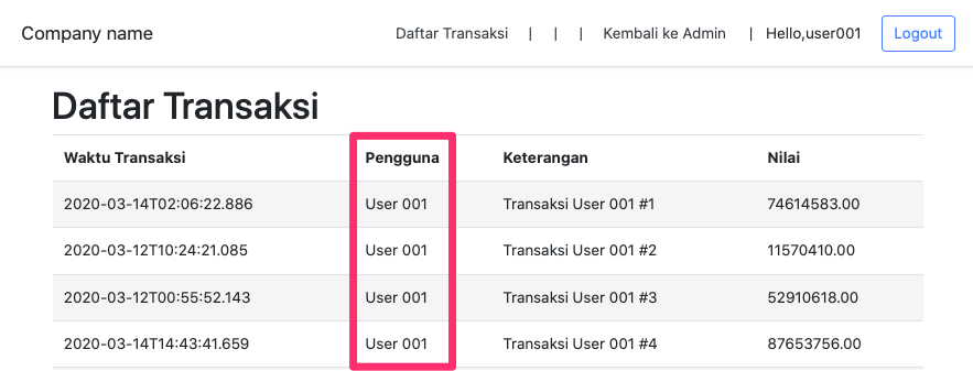 Screen Daftar Transaksi Switch User