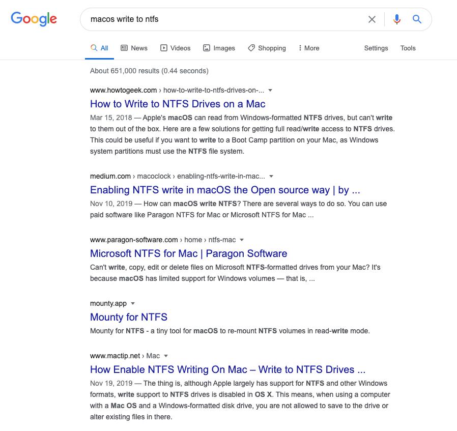Google NTFS MacOS